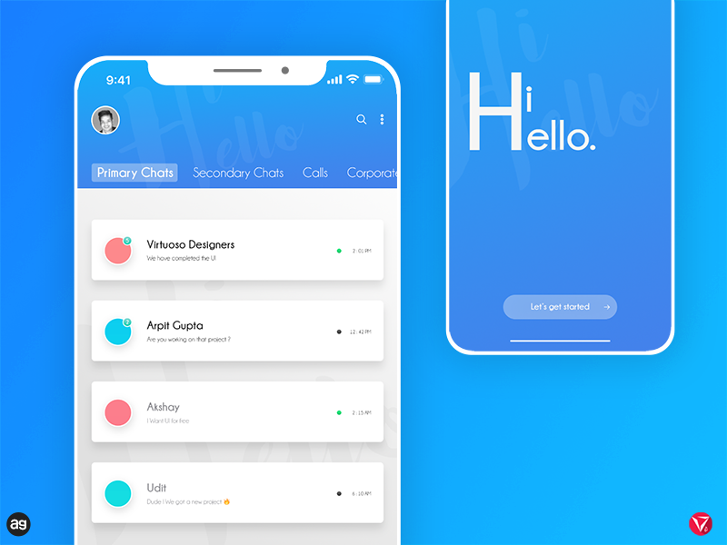 HiHello Chat app concept photoshop appdesign userinterfacedesign ux ui iphonex cards app chat virtuosodesigner virtuosoalpha
