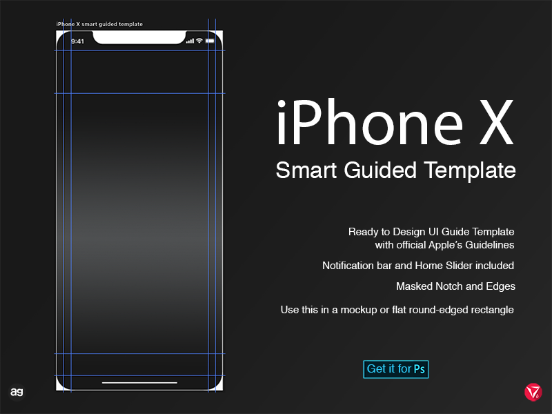 iPhone X Smart Guided Template virtuosodesigner virtuosoalpha ux userinterfacedesign ui photoshop iphonex guides