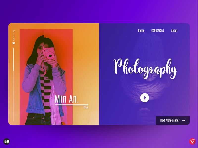 Photography Web Design UI virtuosoalpha virtuosodesigner photography website ui ux userinterfacedesign collection photoshop