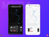 "MYRA - Ride Smart; Cab App concept ""Main Activity"""