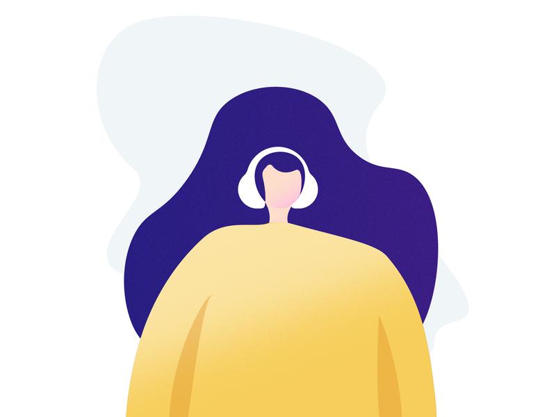 Girl Illustration for Moosick colors modern illustration headphone moosick music girl illustration illustrator appdesign virtuosoalpha