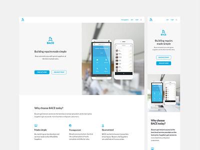 Single Page minimalist light brand marketing ui ux building repairs mobile app website