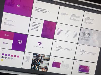 Madra Learning Branding start up startup guide logo pink purple brand guide brand book branding students learning education