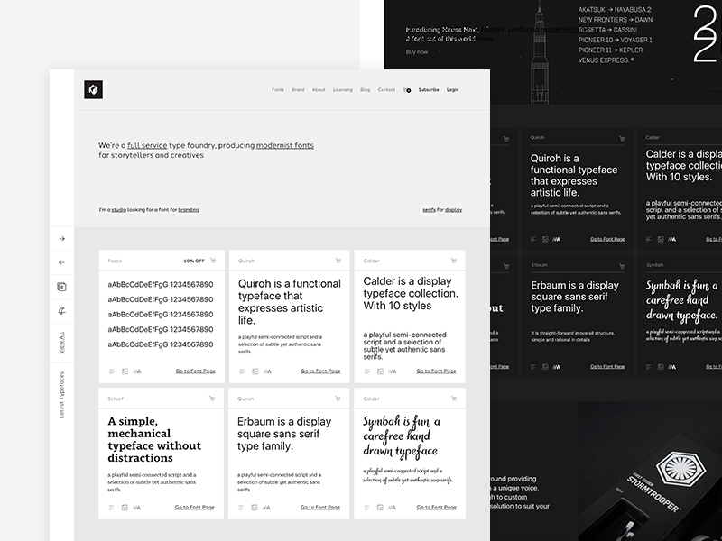 Type Foundry Website - Homepage modernist. minimal fonts e-commerce homepage website typeface font type