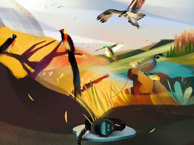 Sound Escapes podcast landscape illustration headphones sound tropical birds desert jungle birds landscape