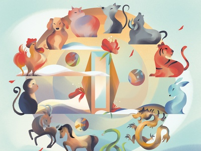 Chinese Zodiac cute animal illustration chinese new year chinese culture animals zodiac chinese zodiac