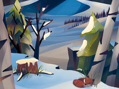 Winter Fox winter night snow illustration snow scene landscape animal illustration fox illustration night holiday snow winter fox