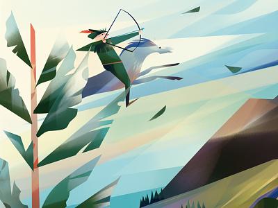 Robin Hood hero leaf arrow bow spring folklore horse tree illustration character robin hood