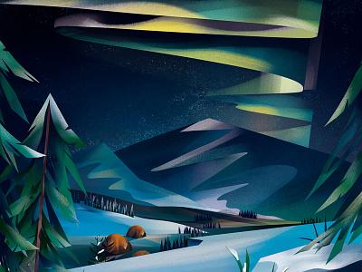 Northern Lights aurora camping snow winterscape landscape illustration northern lights landscape