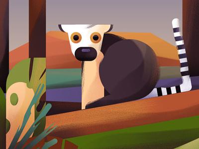 Lemur landscape landscape illustration lemur illustration lemur illlustrator animal illustration