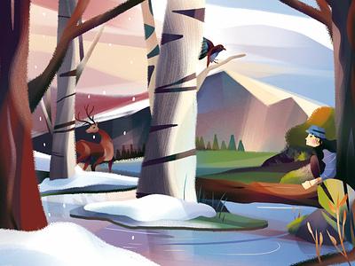 Mixing Seasons character camping snow bird deer winter spring animal arrow landscape illustration background golden hour animal illustration background design landscape