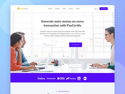 PayCertify Landing design website layout marketing landing ui