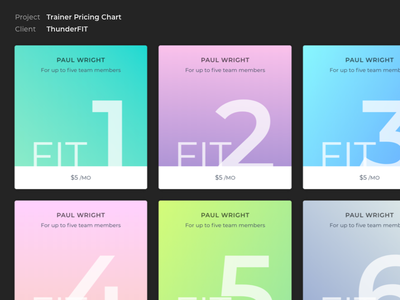 Pricing Table for ThunderFIT exercise fitness gradient website ui table cost plan pricing