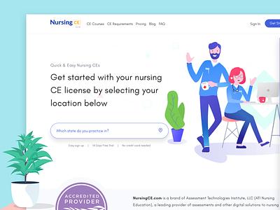 NursingCE courses education website layout nursing