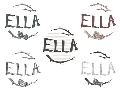 Ella pine cone hand drawn branding woods nature lettering texture branch logo