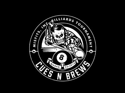 Cues  n Brews skull pool skeleton greaser shark billiards vintage badge eight cue
