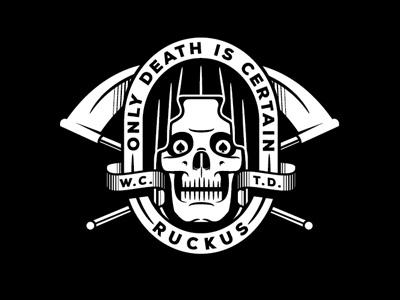 Death Is Certain grim reaper badge lockup death banner skull bone spade
