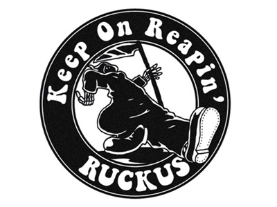 Keep On Reapin' retro 60s illustration ink hand skull death reaper grim lockup patch badge