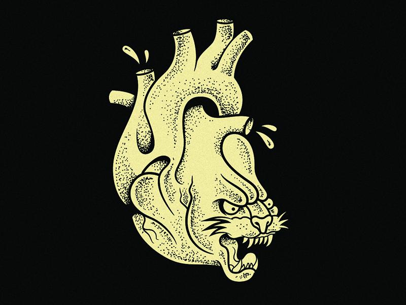 Wild Heart cat wild traditional tattoo stipple panther heart