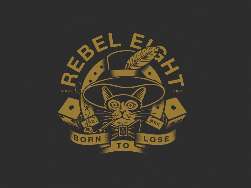 Born To Lose gold horseshoe pipe banner traditional unlucky luck dice feather hat tattoo cat