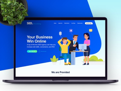 SEO White King Website Template - Freebie tempalte seo services seo company seo agency seo business website landing page ui web design psd product uiux onepage free psd freebies freebie blue design clean