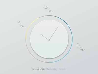 Clock & weather widget - Day weather icons temperature time clean weather ui clock ui widget ui clock weather
