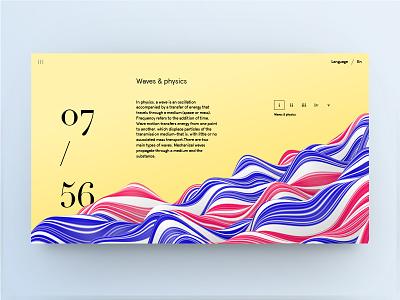 Waves minimalistic clean stripes color typography type cinema 4d 3d waves web ui grid