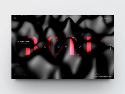 Ferrofluid landing page typography clean website minimal 3d type landing page