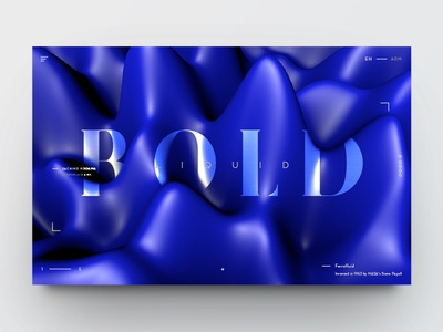 Ferrofluid landing page in blue website typography type minimal page landing clean 3d