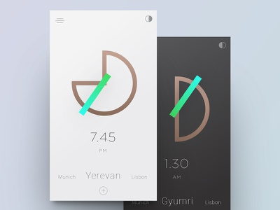 Geometric clock watch time color minimal minimalistic clean geometric ui clock