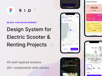 Rio — Design System for Sharing Projects ready for development global styles design kit stylekit uikit ui renting bike electric scooter escooter component variant sharing design system