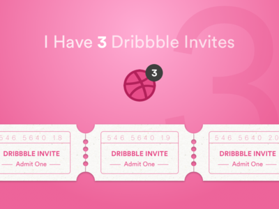 Three #Dribbble Invites [#dribbbleinvite]