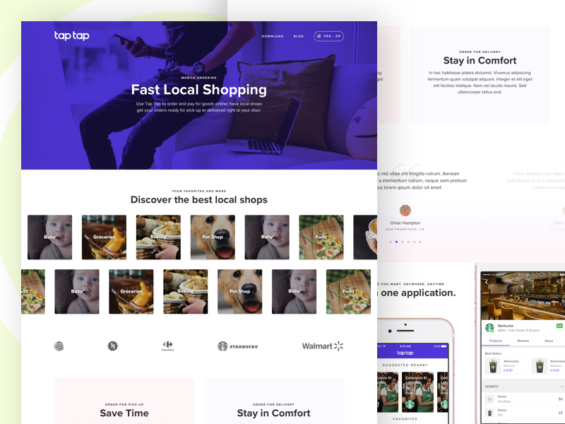 Landing / Product Page duotone category categories business taptap device shopping web product landing