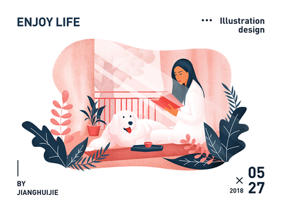 Enjoy life woman dog color illustration