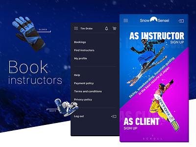 Snow Sensei main page user interface web design mobile first snowsensei booking app bookings