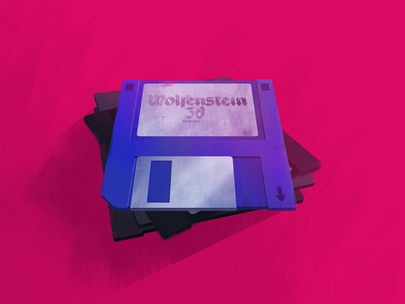 Floppy Disc Game stack floppy disc pink blue paint photoshop retro game