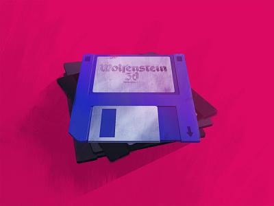 Floppy Disc Game stack floppy disc pink blue paint photoshop retro game