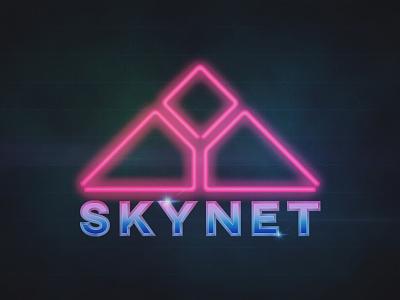 Skynet arnie skynet t2 terminator branding lettering vector logo illustration redesign vintage retro