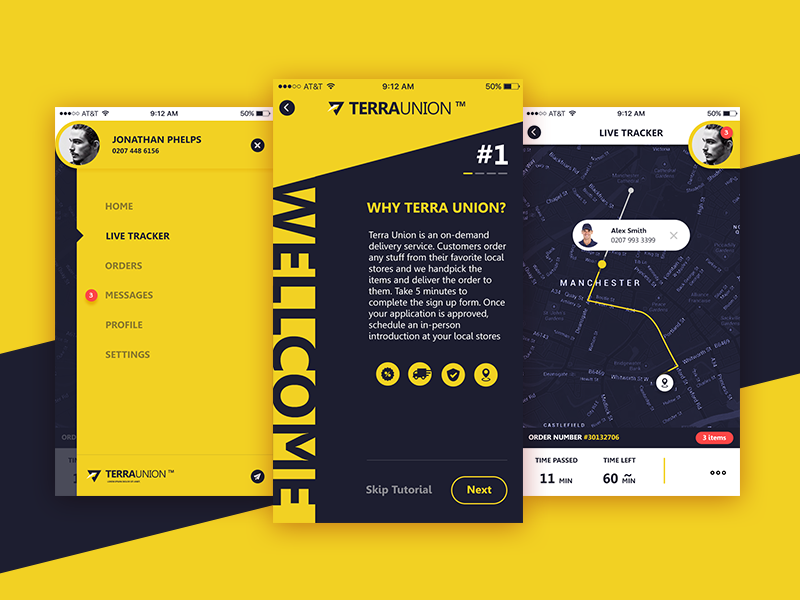 Delivery App black yellow union application service delivery interface uk ux ui