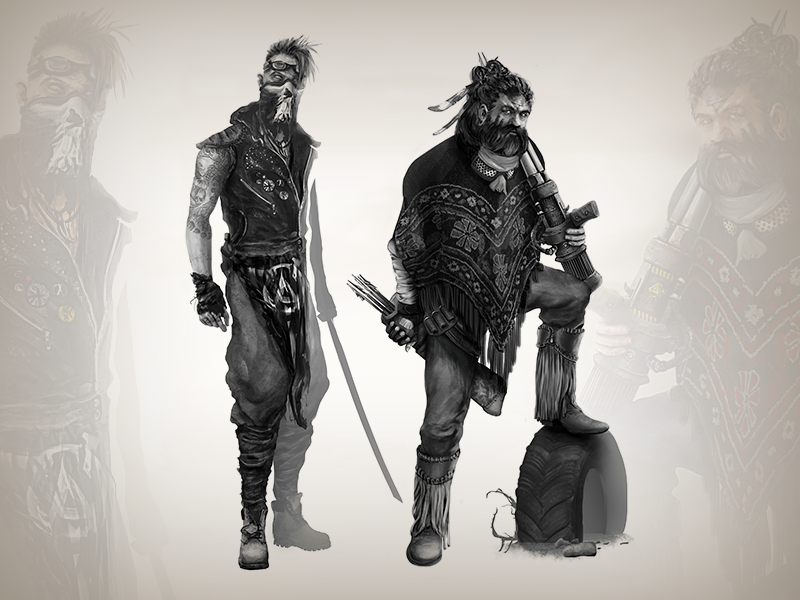 Post-apocalyptic dudes game design sketch post-apocalyptic 2d illustration character