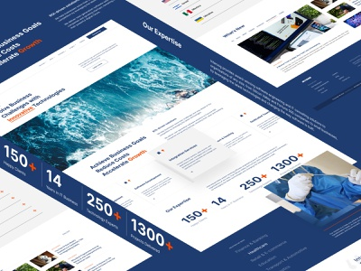 Website UI elements project agency blue portofolio clean simple landingpage uiux webdesign ux ui website