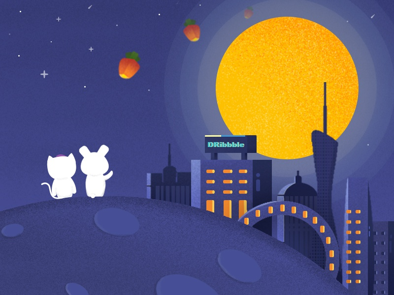 Illustration For Mid-Autumn Festival typography vi animation icon dashboard web ui logo architecture planet space moon mid-autumn illustration