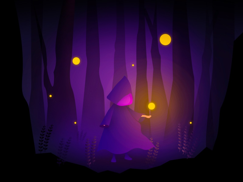 witch's magic page gradients web logo purple romantic drawing ui forest illustration magic witch