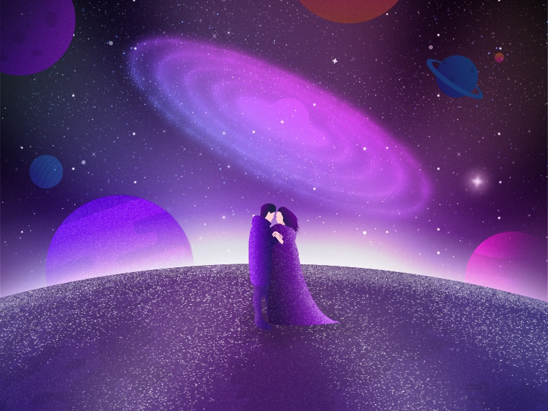 Love until the end of the world universe kiss love purple design logo interfere drawing illustration website web ui