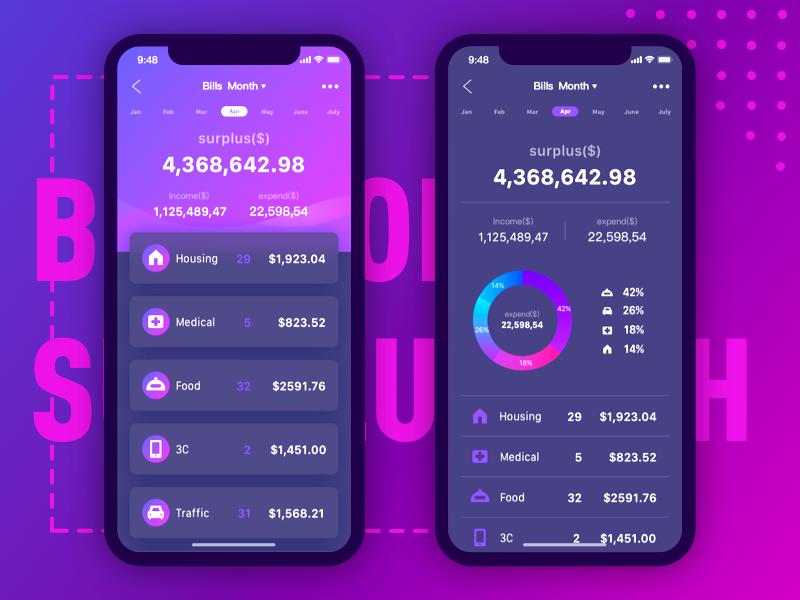 Finance bills page money dashboard data purple wallet finance drawing website web illustration logo ui