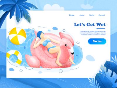 Grab the tail of summer blue swim summer animation dashboard icon illustration interface logo web vi ui
