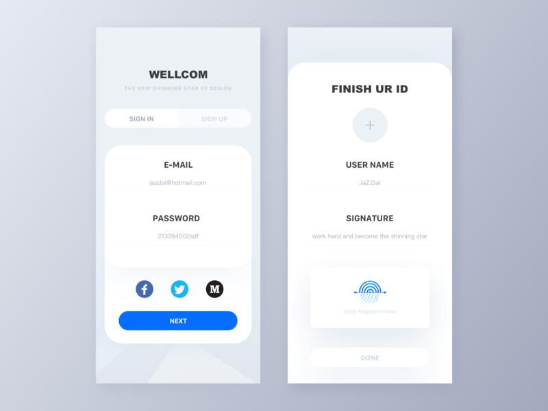 Creative login page app interface signup login minimal clean page motion landing page typography graphic data website animation icon dashboard ui illustration web logo