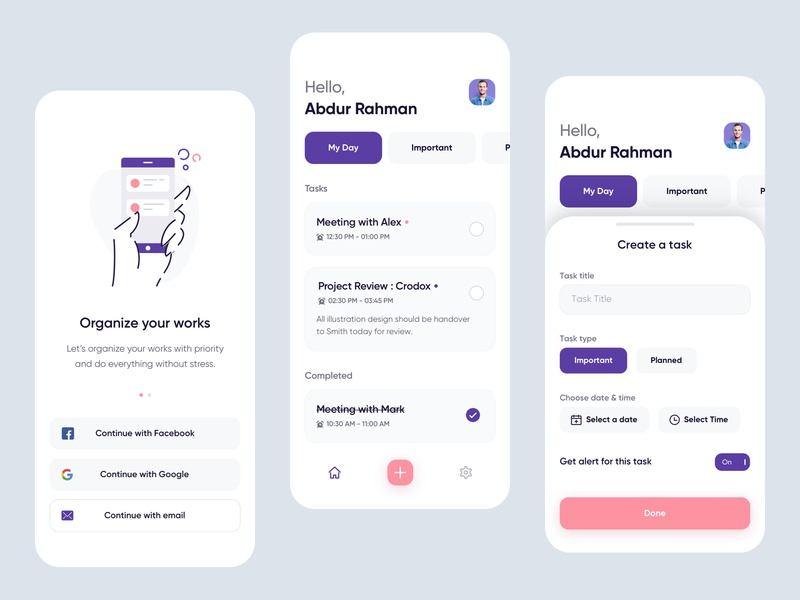 Schedo : Task Manager App graphic design concept user experience interaction clean modern minimal interface vector illustration 2d 3d typography new trend project management tool calendar web app dsamivai teamoreo login form onboarding schedule planner todo task manager mobile application ios android ui ux app design