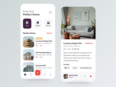 Home Rental App ui ux experience ios android user interface new trend typography dribbble popular trending property rent ecommerce buy sell room finder nearby search map responsive web application mobile app design house flat apartment home rental real estate app