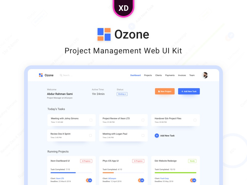 Ozone - Project Management Web UI Kit by Abdur Rahman Sami on Dribbble